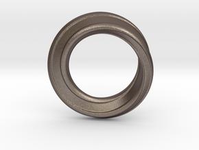 Möbius Strip Ring in Polished Bronzed Silver Steel