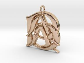Monogram Initials AAB Pendant in 14k Rose Gold