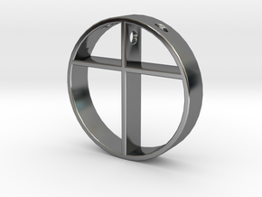 Cross pendant for men. in Fine Detail Polished Silver