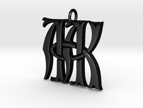 Monogram Initials AAK Pendant  in Matte Black Steel