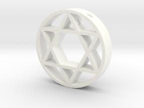 David Star pendant for men. in White Processed Versatile Plastic
