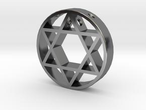 David Star pendant for men. in Fine Detail Polished Silver