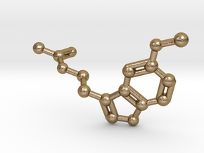 Melatonin Molecule Keychain in Polished Gold Steel