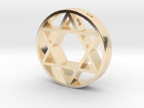 David Star pendant for men. in 14k Gold Plated Brass