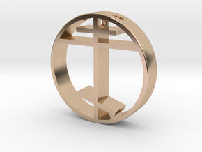 Orthodox cross pendant for men. in 14k Rose Gold Plated Brass