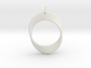 Mobius Strip Pendant in White Strong & Flexible