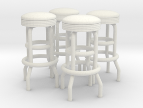 50's soda fountain bar stool 02. 1:22 Scale in White Strong & Flexible