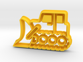 Bulldozer Cookie Cutter in Yellow Strong & Flexible Polished