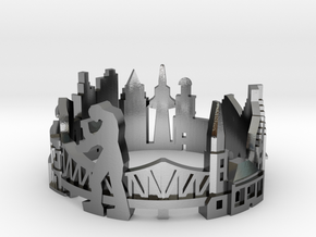 Frankfurt Skyline - Cityscape Ring in Polished Silver: 8 / 56.75