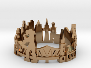 Frankfurt Skyline - Cityscape Ring in Polished Brass: 8 / 56.75