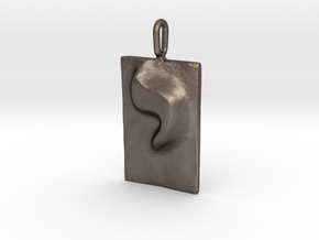 10 Yod Pendant in Polished Bronzed Silver Steel