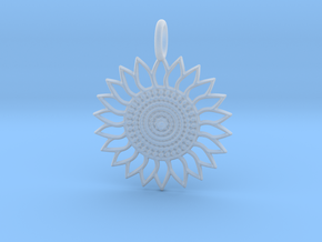 Sunflower Pendant in Smooth Fine Detail Plastic