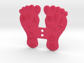 Goddess Mahalakshmi's Paduka Feet Frame Plaque in Pink Processed Versatile Plastic