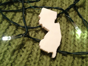 New Jersey Christmas Ornament in White Natural Versatile Plastic
