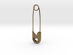 Safety Pin Charm in Natural Bronze: Medium