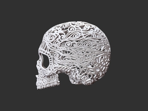 Skull Filagree P3 Top- 6.5cm in White Natural Versatile Plastic