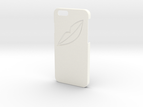 Iphone 6 Case - Name On The Back - Lips in White Strong & Flexible Polished