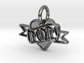 Mom Pendant in Polished Silver