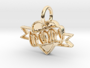 Mom Pendant in 14k Gold Plated Brass