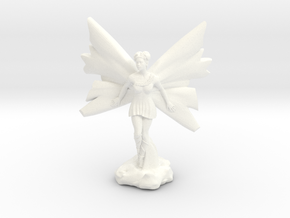 Fairy with large wings, in flight 30mm scale in White Strong & Flexible Polished