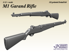 1/12+ M1 Garand rifle in Smoothest Fine Detail Plastic: 1:12