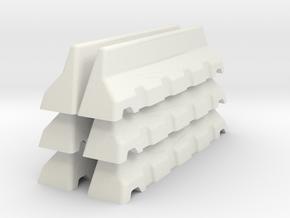 Concrete Road Block X 6 (Short) in White Natural Versatile Plastic