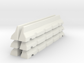6mm Scale Concrete Road Block X 6 for war gaming in White Natural Versatile Plastic
