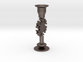 Snowflake Candle Holder A in Polished Bronzed Silver Steel