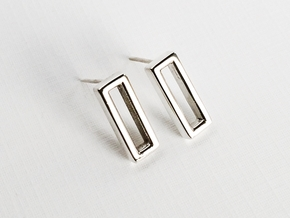 Minimalist Post Earrings, Rectangular Studs in Polished Silver