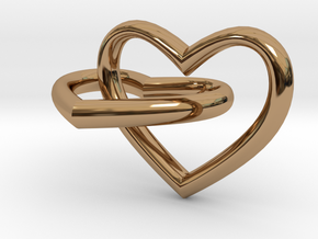 Two hearts in Polished Brass (Interlocking Parts)
