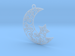 Crescent scroll with star in Smooth Fine Detail Plastic