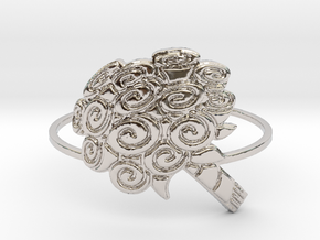 Flat Bouquet Of Roses (Size 4-13) in Rhodium Plated Brass: 4 / 46.5