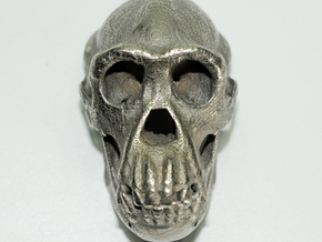Chimpanzee skull - 77 mm in Polished Bronzed Silver Steel