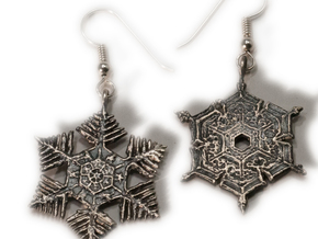 Snowflake Pendant/Earring - Style C in Natural Silver