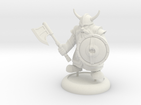 Dwarf Warrior in White Natural Versatile Plastic