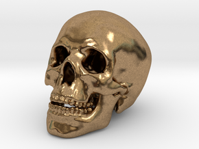 Human Skull - medium in Natural Brass