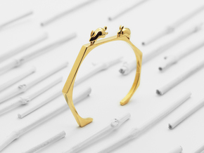 Chasing Rabbits Cuff Bracelet in Polished Brass: Small