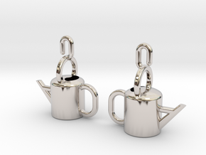 Watering Can Earrings in Rhodium Plated Brass