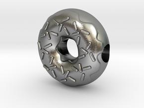 Donut European Charm Bracelet Bead in Natural Silver