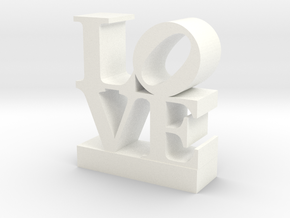 Love Sculpture - with Customizable Text in White Strong & Flexible Polished