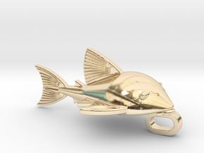 Medium Royal Pleco Key Chain Charm in 14k Gold Plated Brass: Medium