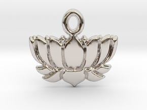 Lotus Flower Yoga Pendant in Rhodium Plated Brass