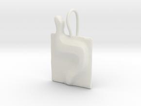 12 Lamed Earring in White Natural Versatile Plastic