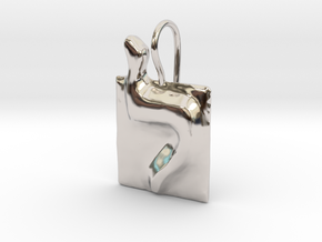 12 Lamed Earring in Rhodium Plated Brass