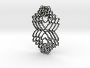 Interlocked Hearts in Polished Silver