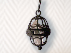Cage Pendant in Black Natural Versatile Plastic