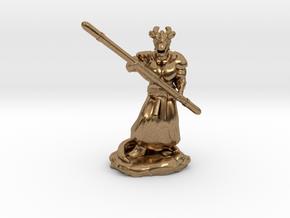 Muscular Dragonborn Monk with Quarterstaff  in Natural Brass