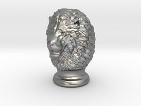 Lion Head, statuette. 10 cm in Natural Silver