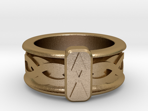 Norse Othala Ring in Polished Gold Steel