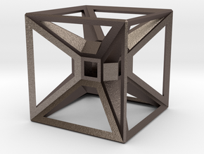 Tesseract Desk Sculpture in Polished Bronzed Silver Steel